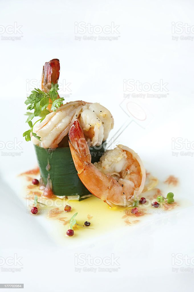 Prawns appetizer stock photo