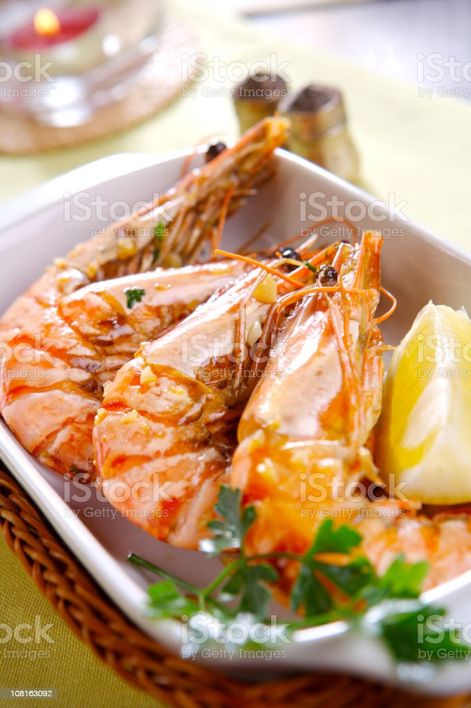 Prawns fried with garlic and wine royalty-free stock photo