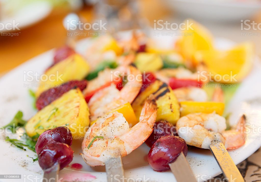 Prawns grilled with fruits royalty-free stock photo