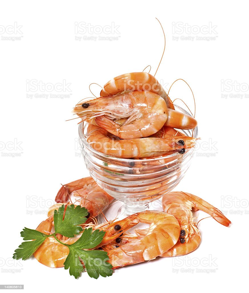 Prawns in a glass salad bowl royalty-free stock photo