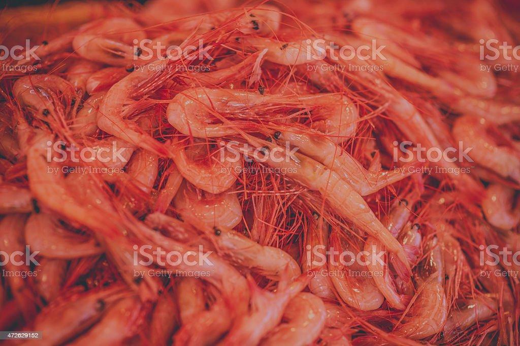 Prawns In Fish Market stock photo