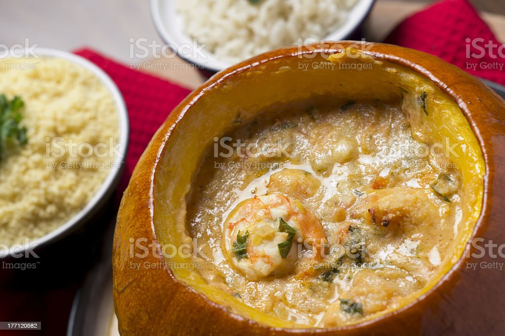 Prawns in Pumpkin - Camarao na Moranga royalty-free stock photo