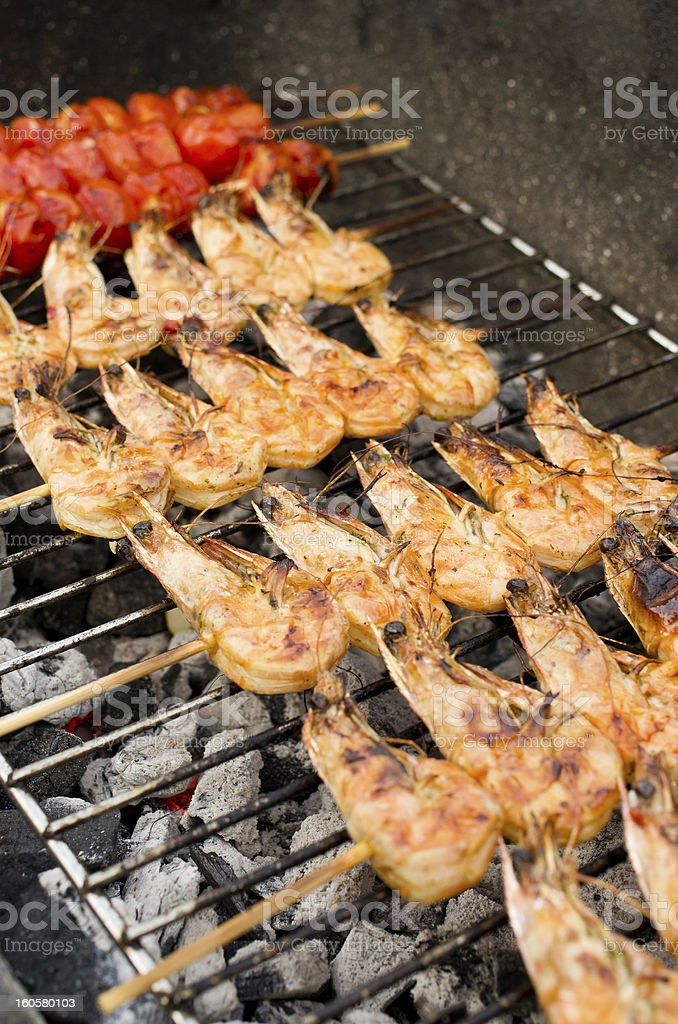 Prawns on the grill royalty-free stock photo