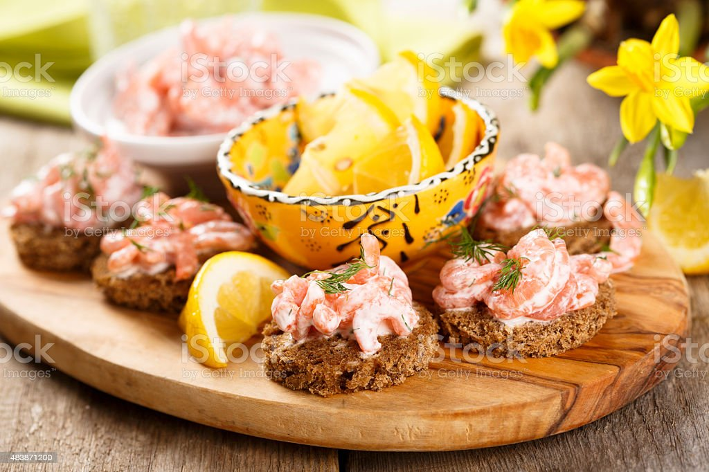 Prawns on toast stock photo