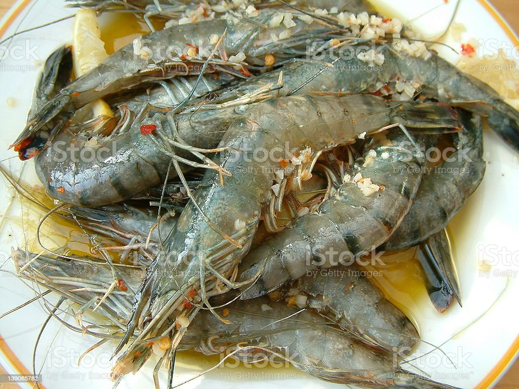prawns pre barbacue royalty-free stock photo
