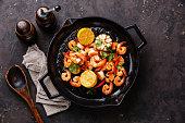 Prawns roasted on frying pan