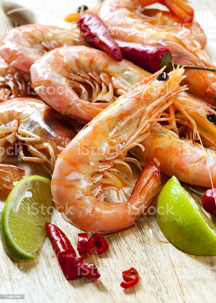 Prawns with Chili and Lime royalty-free stock photo