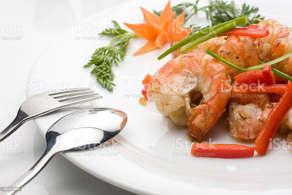 Prawns with garlic and peppers stock photo