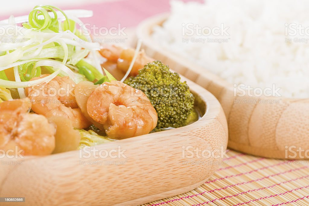 Prawns with Ginger and Spring Onion royalty-free stock photo