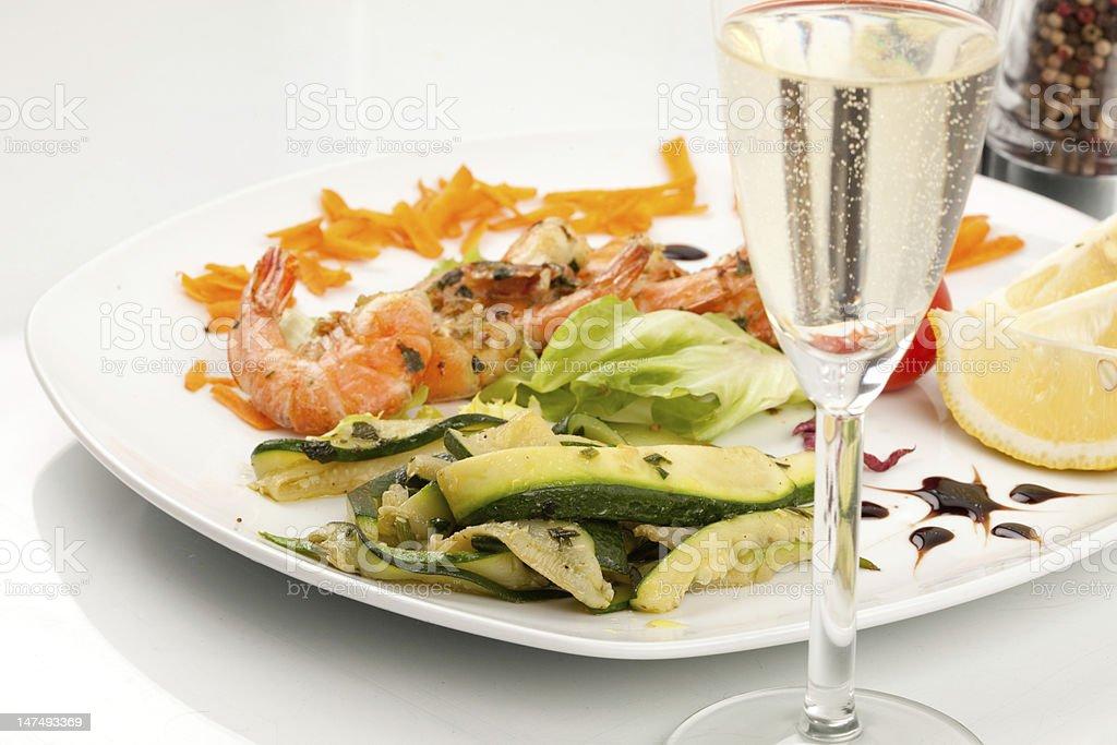 Prawns with zucchini royalty-free stock photo