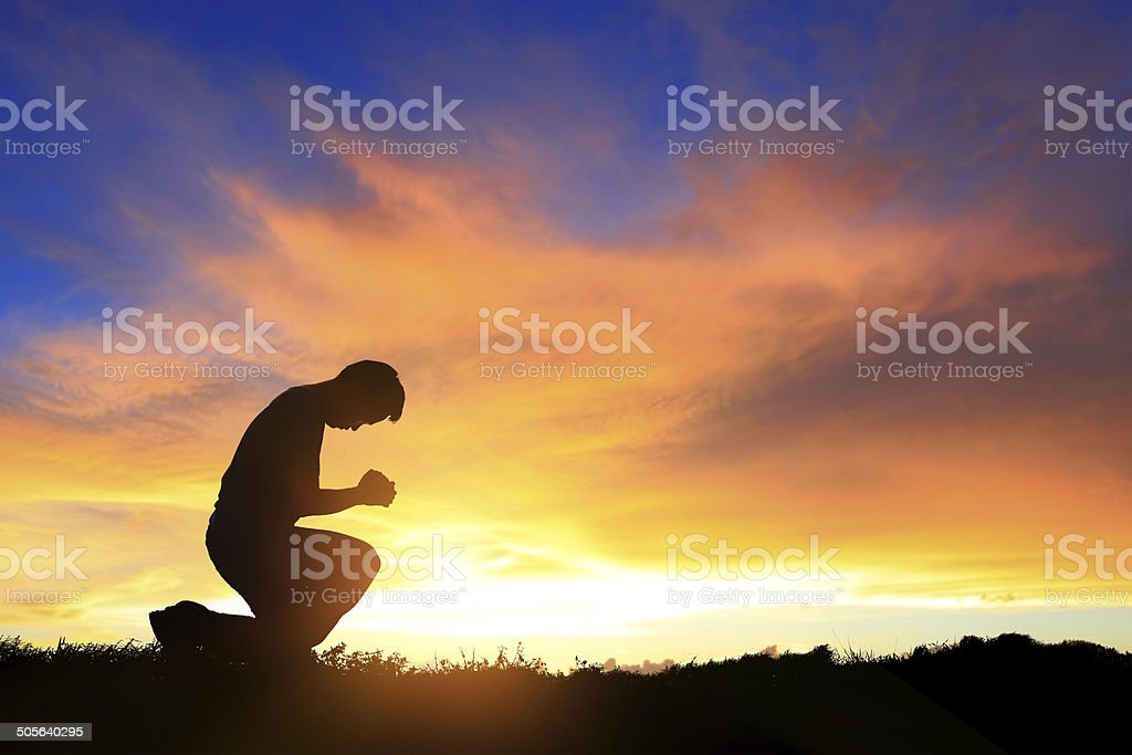 Pray and worship stock photo