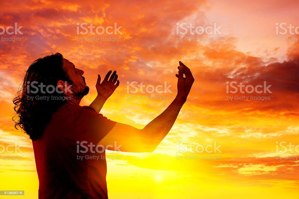 Pray and worship stock photo