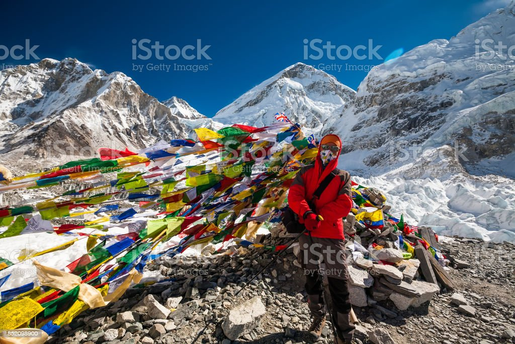 Pray flags in Everest base camp stock photo