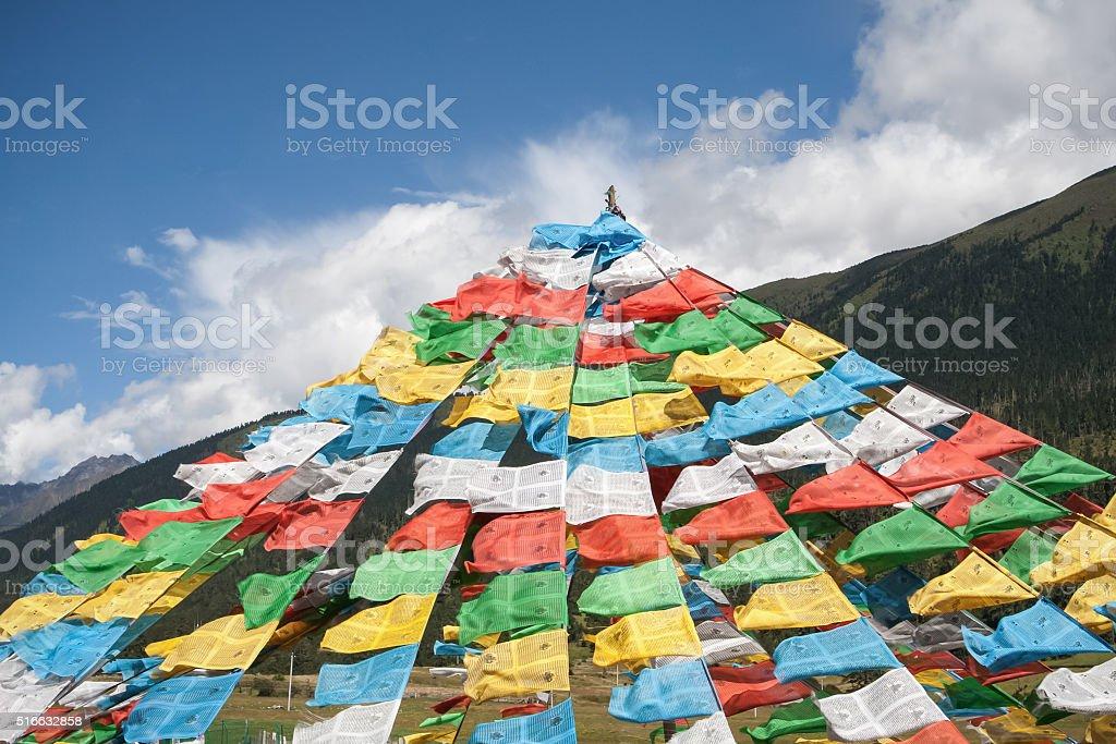 Pray flags in Tibet stock photo