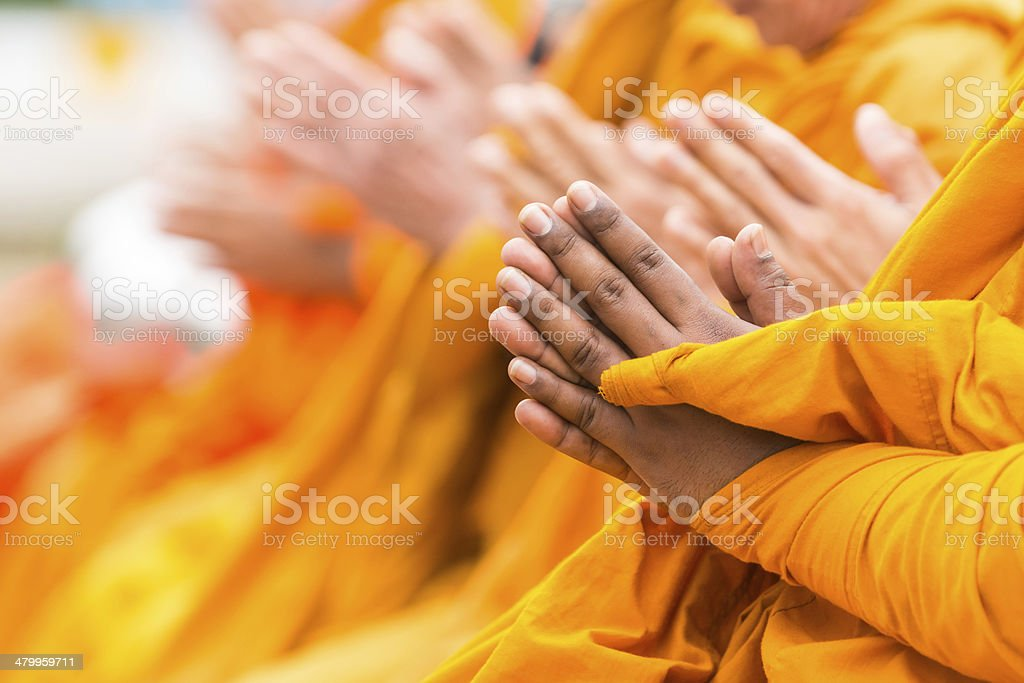 pray for faith in Buddhism stock photo
