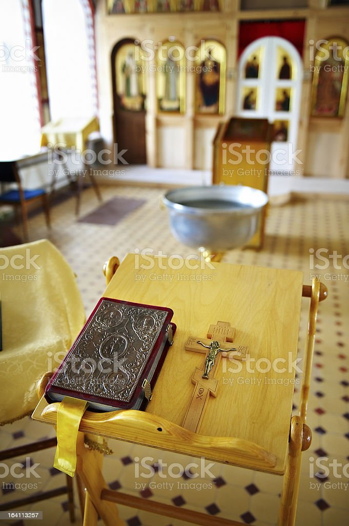 Prayer and cross with Jesus on table in Church royalty-free stock photo