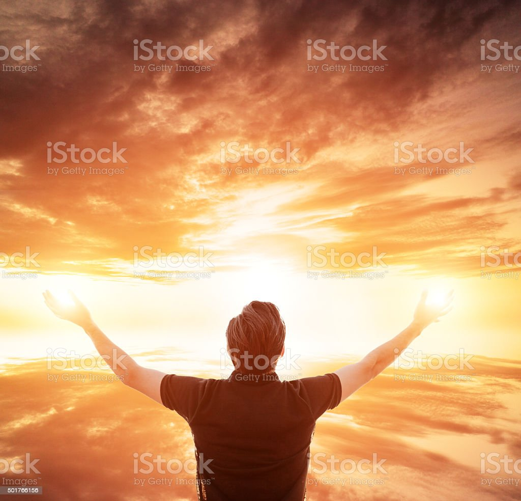 Prayer - Arms Outstretched stock photo