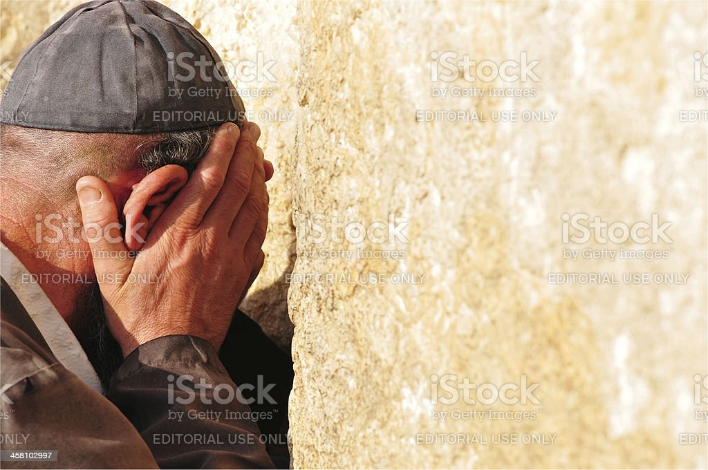 Prayer at the Western Wall royalty-free stock photo