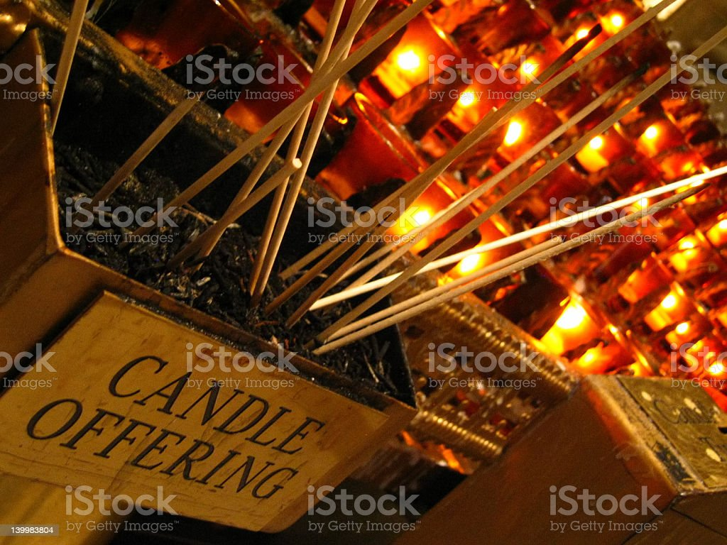 Prayer candles in church royalty-free stock photo