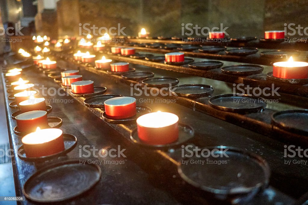 Prayer Candles in St. Stephens Cathedral, Budapest stock photo