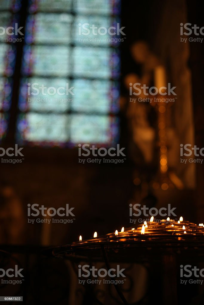 Prayer candles in the Notre Dame cathedral, Paris, France royalty-free stock photo