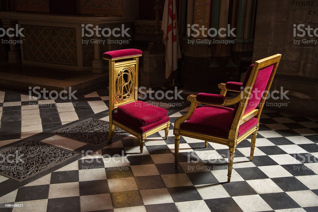 Prayer chair at a cathedral stock photo