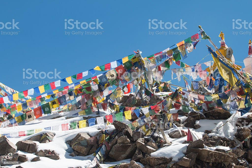 Prayer flag at Leh, Ladakh, India stock photo