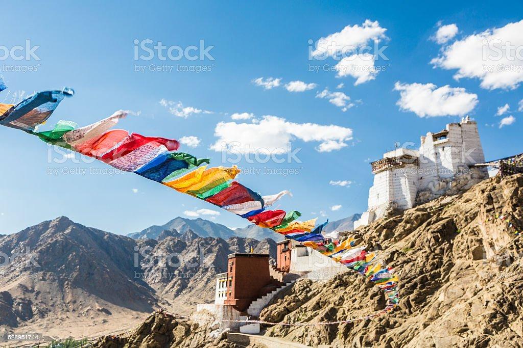 Prayer flag in Tsemo castle in Leh, Ladakh, India stock photo