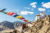 Prayer flag in Tsemo castle in Leh, Ladakh, India