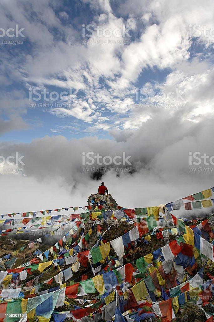 Prayer flags above Namche Bazar royalty-free stock photo
