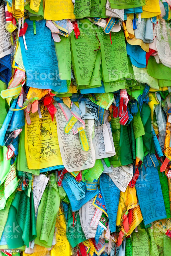 Prayer flags and Hadak at sunset in the Republic of stock photo