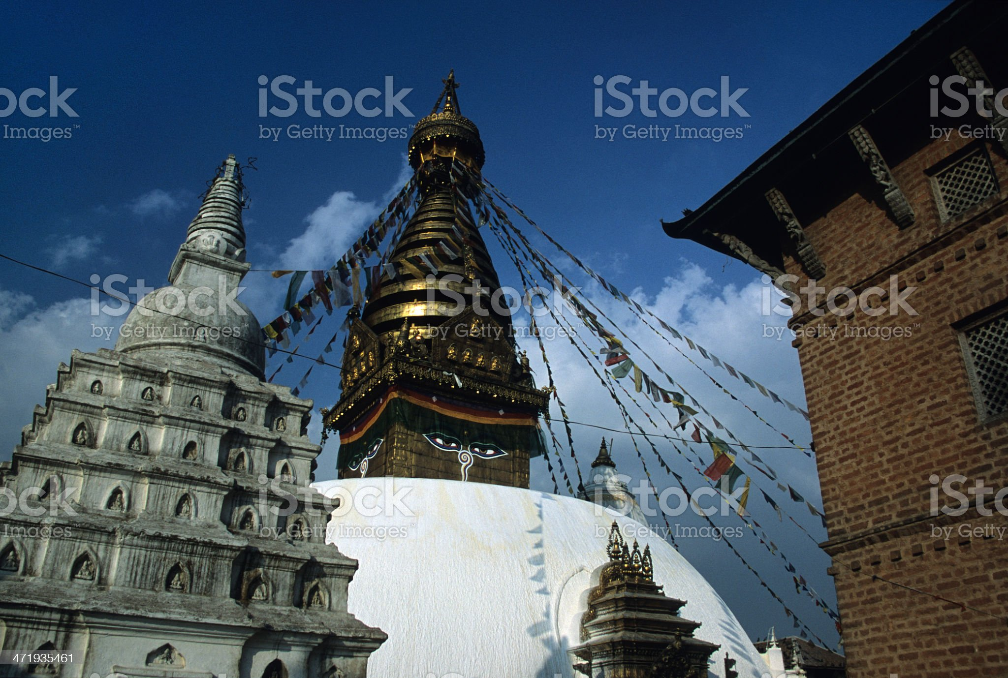 Prayer flags and Monkey Temple Nepal royalty-free stock photo