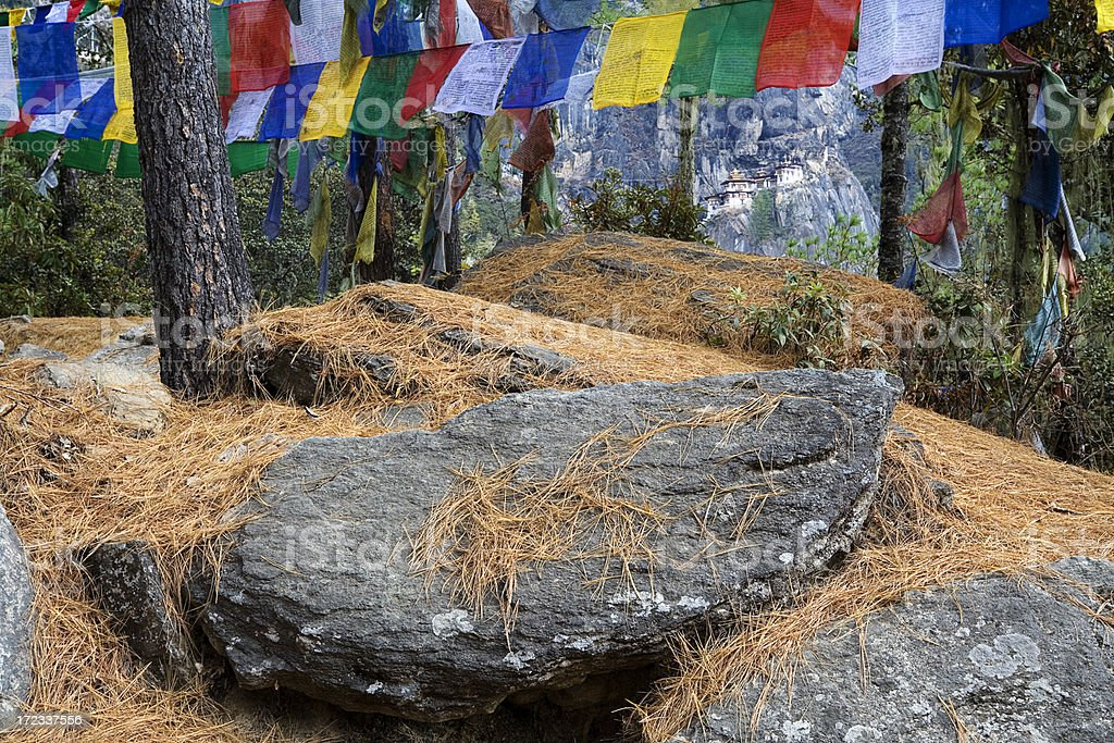 Prayer Flags and Rocks royalty-free stock photo