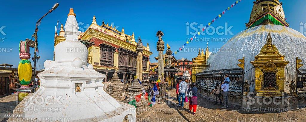 Prayer flags and stupa shrines Swayambhunath monkey temple Kathmandu Nepal stock photo