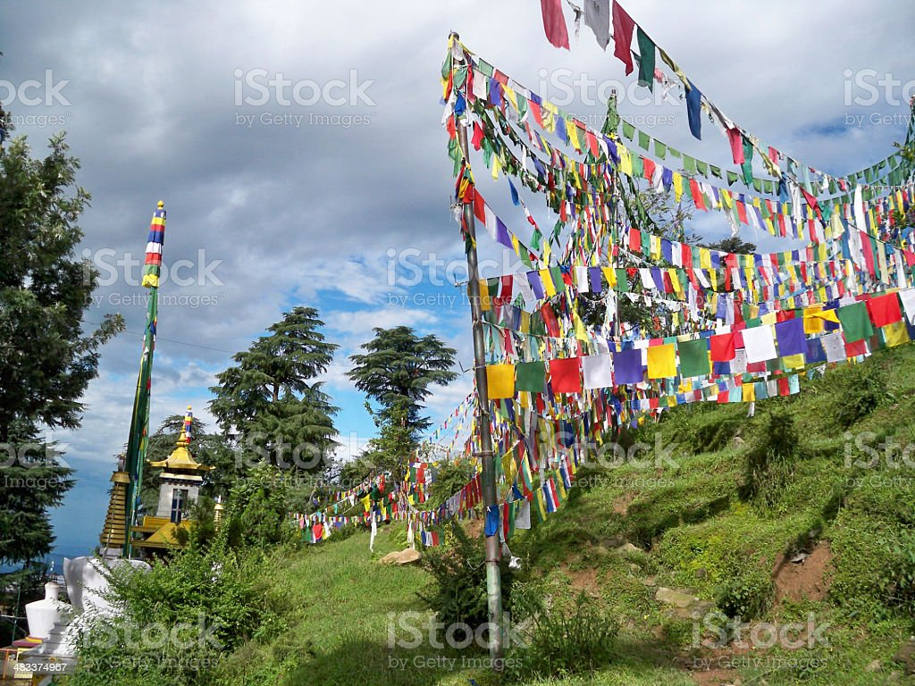 Prayer flags arround Dalai Lama Temple in  McLeod Ganj, Dharamsala stock photo