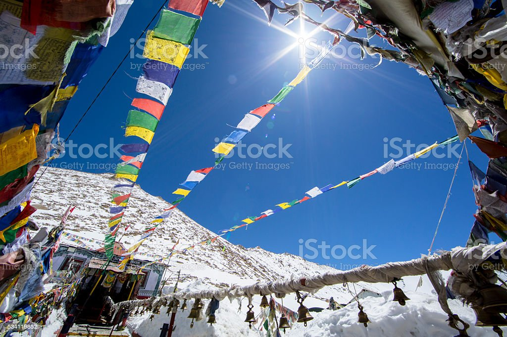 Prayer flags at Changla Pass. stock photo