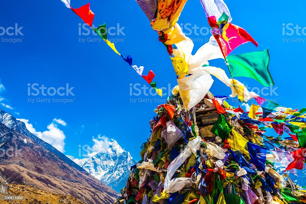 Prayer Flags at the Everest Memorial in Nepal stock photo