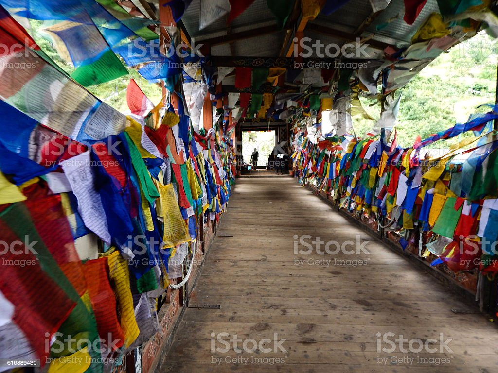 Prayer flags bridge royalty-free stock photo