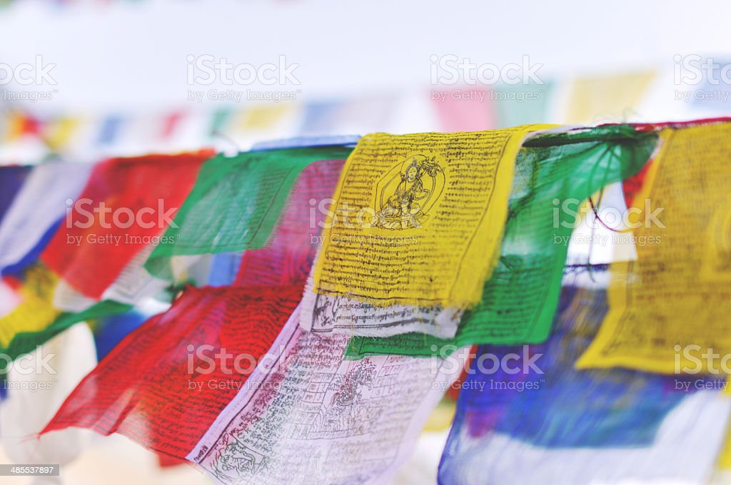 Prayer flags from Nepal stock photo