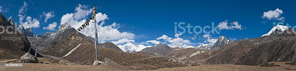 Prayer flags Himalaya mountain pass panorama Mt Everest NP Nepal stock photo