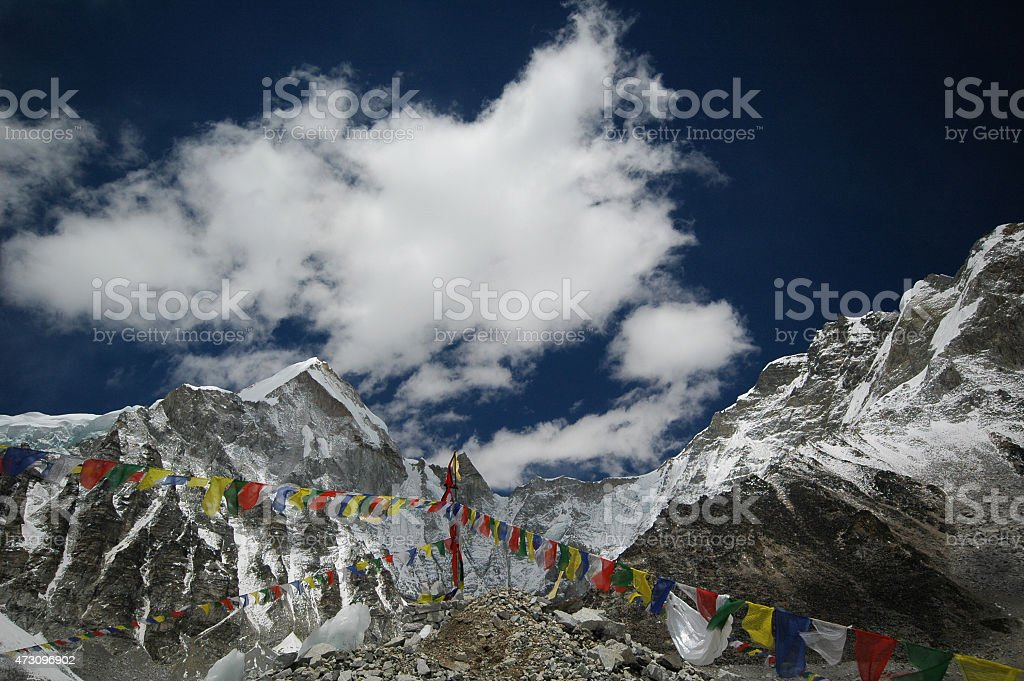 Prayer flags in Everest Base Camp. Nepal Himalayas. stock photo