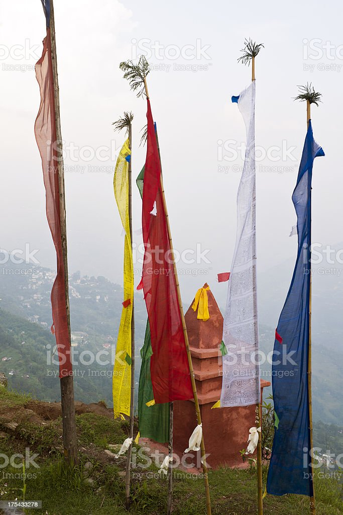 Prayer Flags in Sangachoeling Gompa Sikkim royalty-free stock photo
