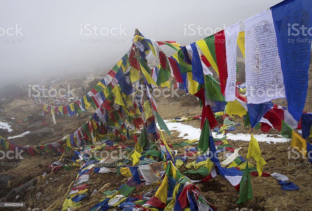 Prayer flags in the Himalaya mountains, in Nepal royalty-free stock photo