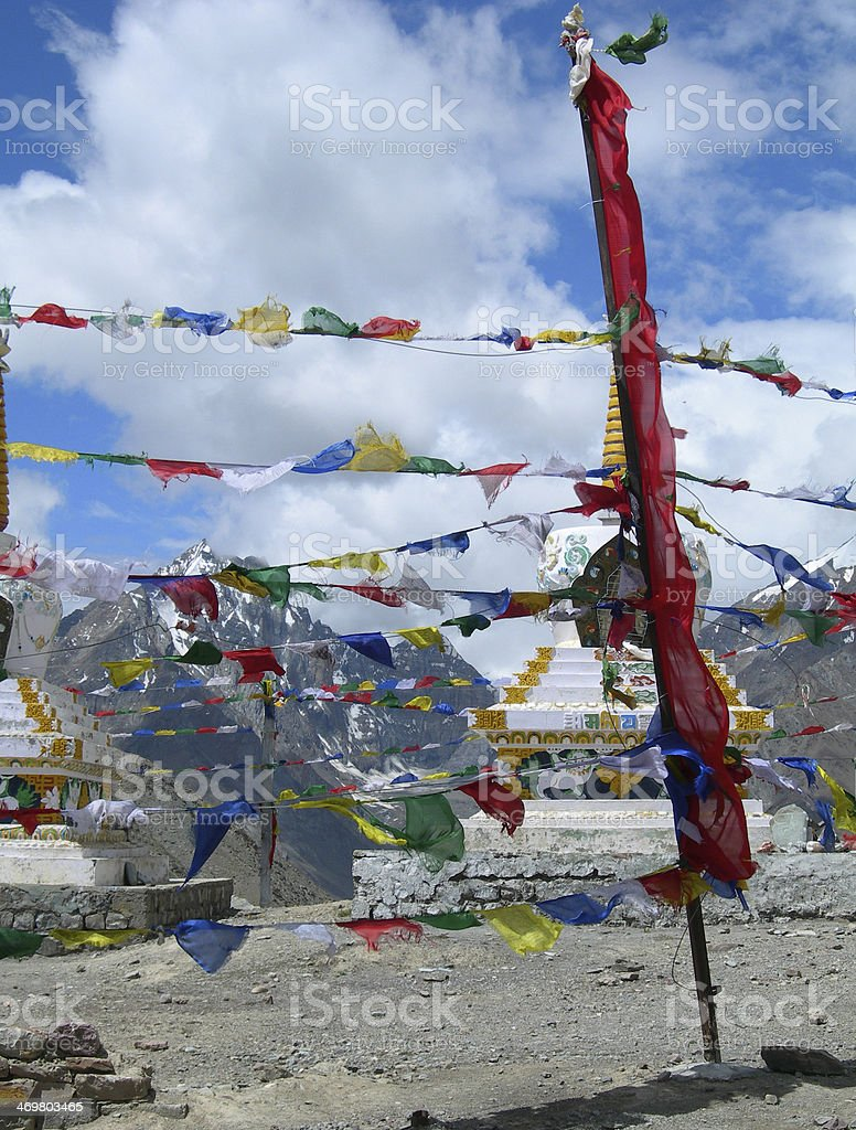 Prayer flags in the Himalayas, India royalty-free stock photo