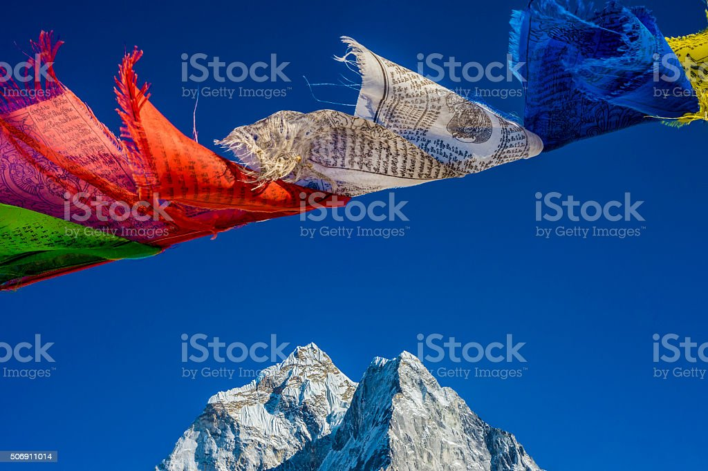 Prayer flags in the Himalayas stock photo