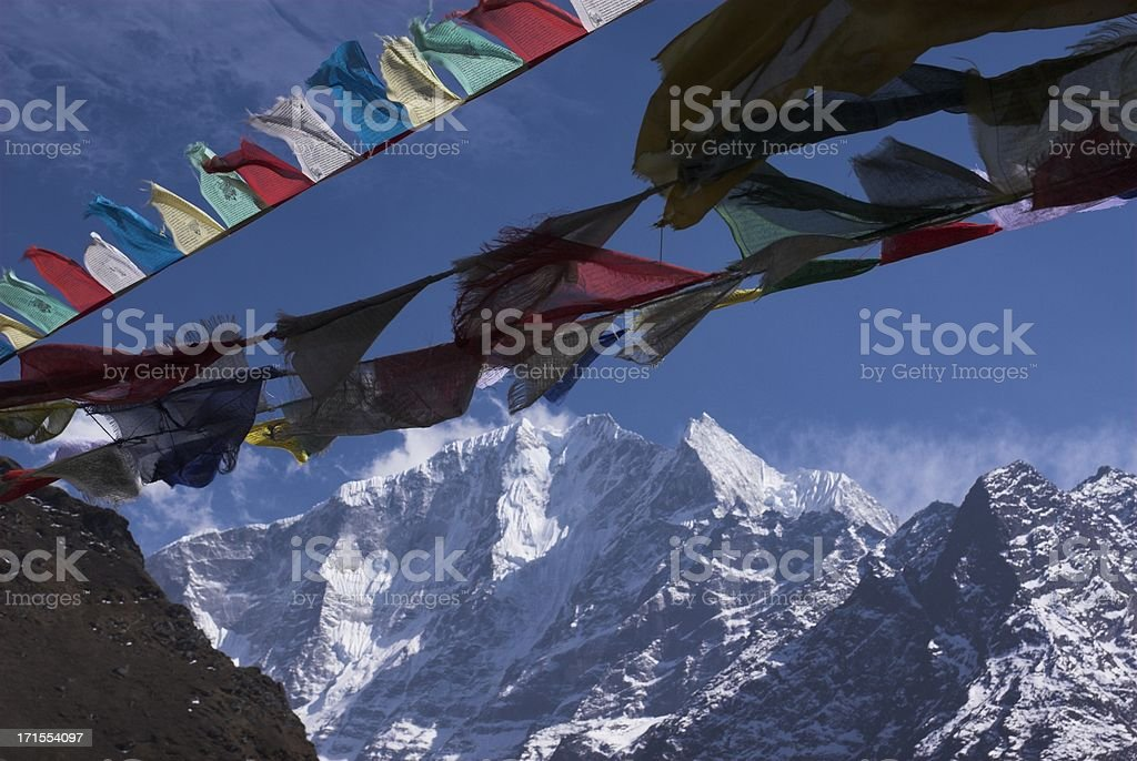 prayer flags in the wind royalty-free stock photo
