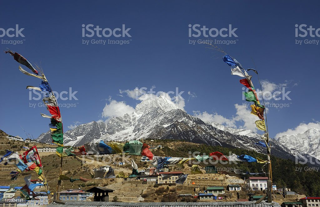 'prayer flags, Namche Bazaar and moutain' stock photo