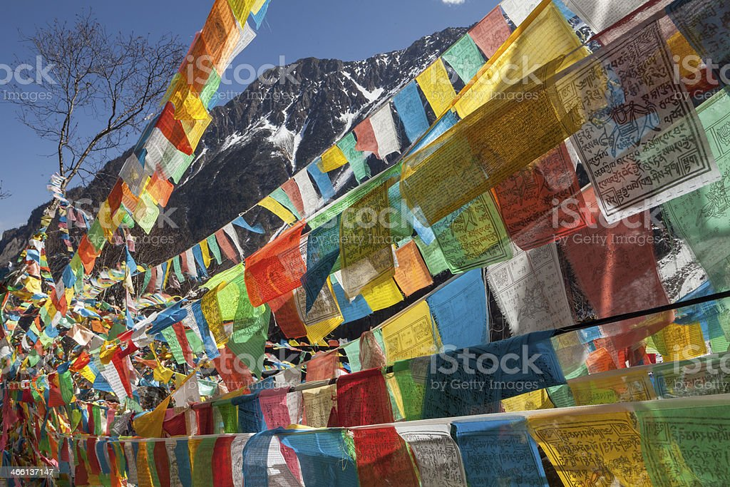 Prayer flags near Yubeng, Yunnan, China. stock photo
