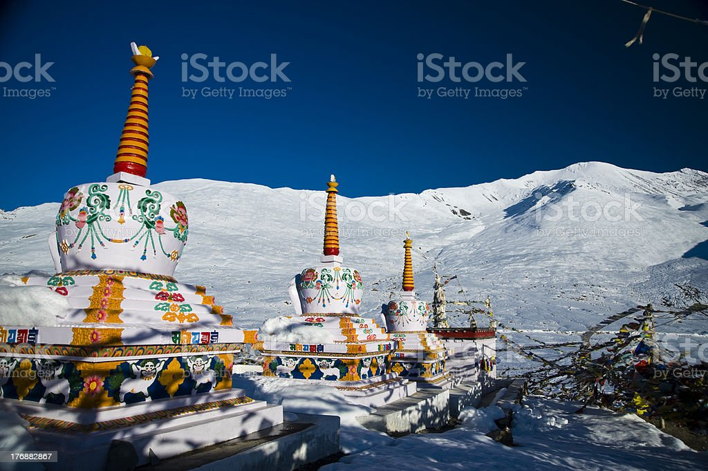 Prayer flags on stupas stock photo