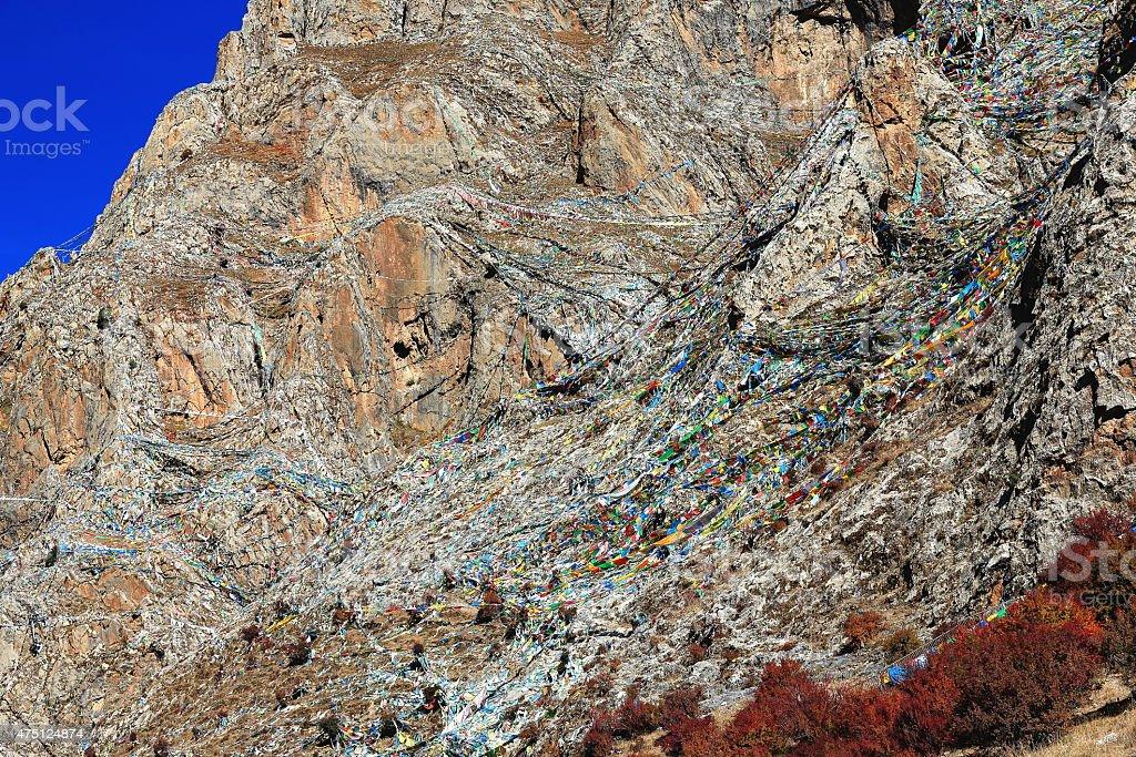 Prayer flags on the mountain.  Drak Yerpa-Tibet. 1467 stock photo